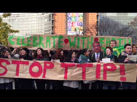 European youth at the presentation of the European Citizens initiative against TTIP