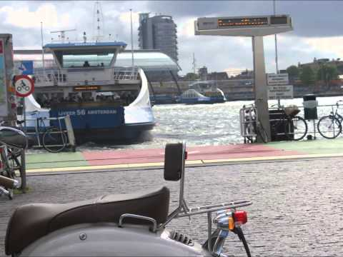 ferry crossing river IJ in Amsterdam