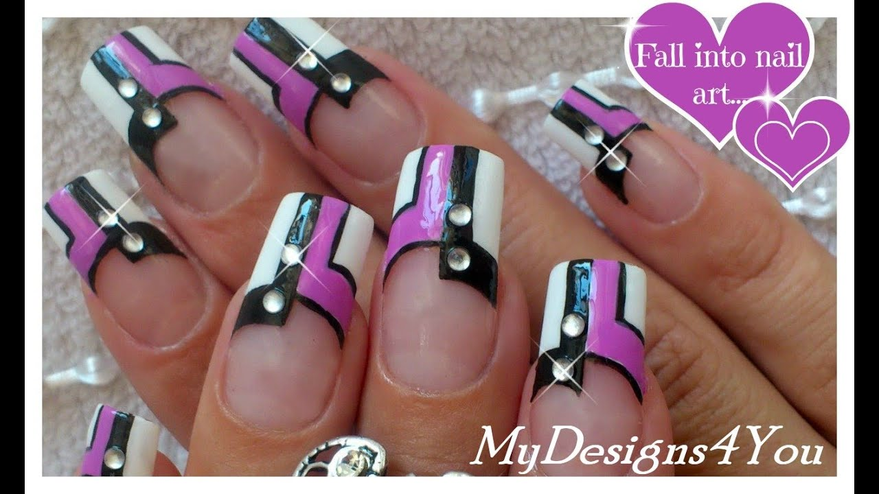 Nail Art Design, Black, White & Purple ♥ - YouTube