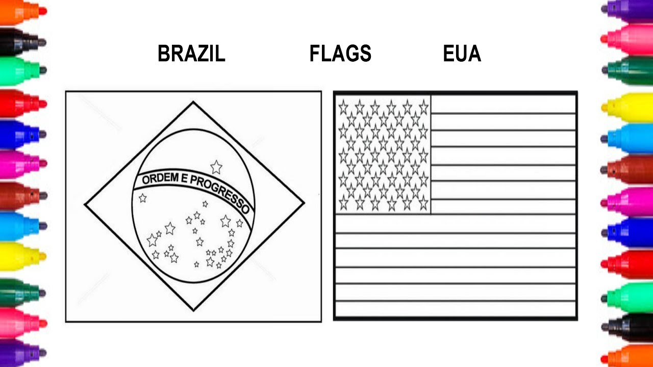 FLAG NATIONAL BRAZIL AND USA COLORING PAGES FOR KIDS