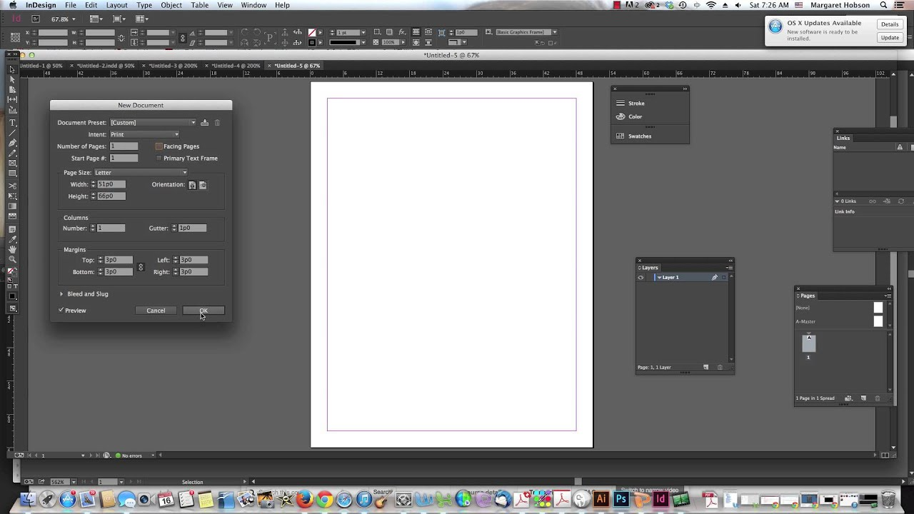 Changing Margins Columns And Gutter Widths In An Indesign Document Youtube
