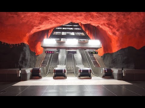 Sweden, Stockholm, Solna Centrum subway / tram station, 4X escalator, 5X elevator
