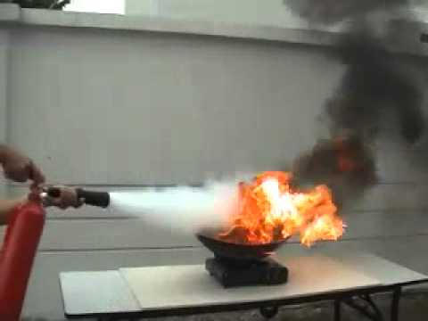 Fire Extinguisher CO2 Demo On Kitchen
