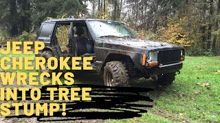 Sideways Jeep Cherokee Vs. Tree Stump