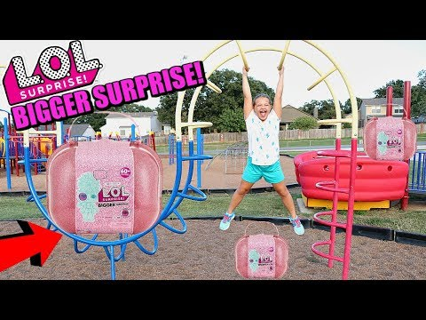 LOL Surprise BIGGER SURPRISE SCAVENGER HUNT FOR LOL DOLLS AT THE Outdoor PLAYGROUND Park FOR KIDS!