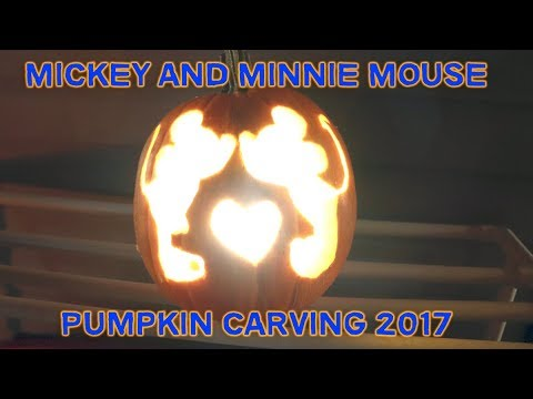 Carving a Mickey & Minnie Mouse Pumpkin Carving