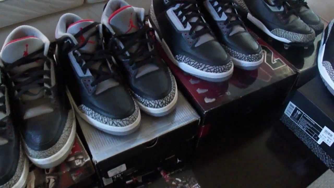 2d0150fb50d3 OG black cement 3 s from 1988 compared with retroes from 94