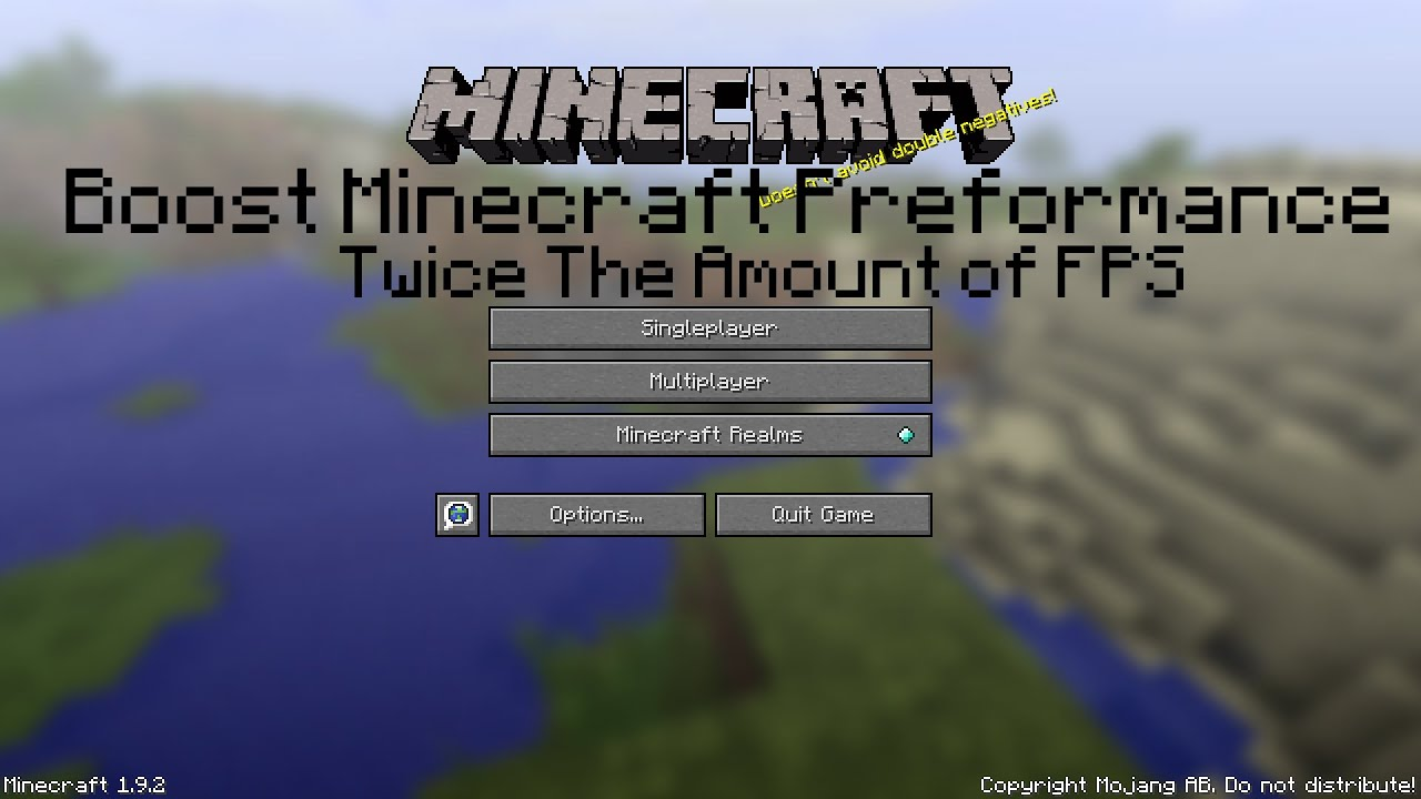 How To Make Minecraft Run Faster Twice As Much Fps Youtube