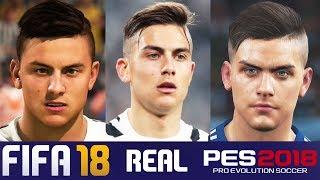Fifa 18 vs pes 2018 juventus face comparison (dybala, buffon, matuidi + more)