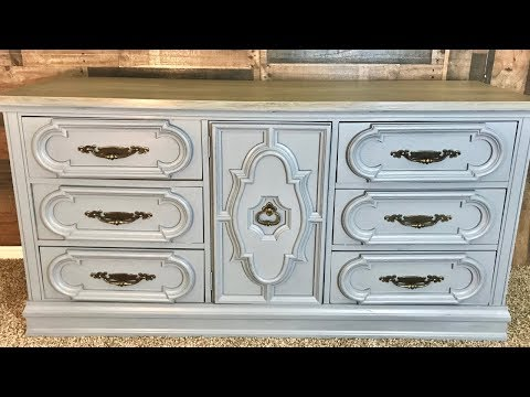 Retique It Liquid Wood Grey Dresser Stained Top Makeover Tutorial