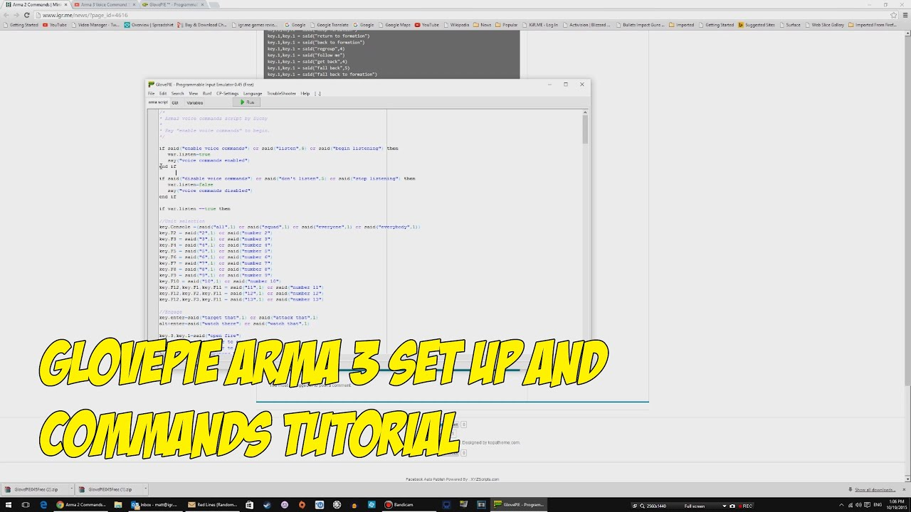 GlovePie Arma 3 Set up and Commands Tutorial