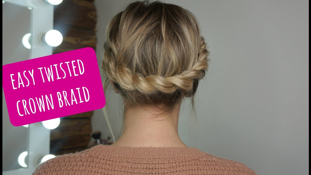 How To Easy Twisted Crown Braid On Short Medium Hair Youtube