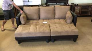 300160 Two Tone Queen Futon Sofa Bed With Ottomans