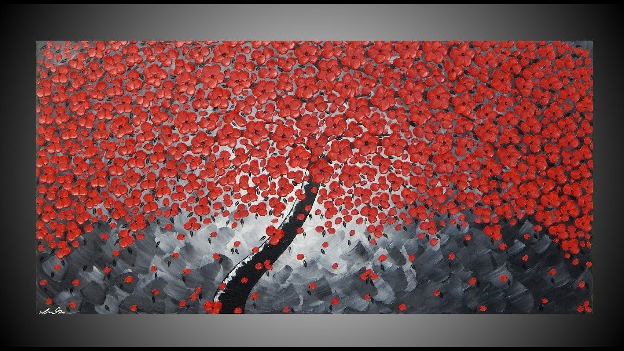 Cherry painting tree painting red flower art thick textured painting black and white art by ilonka