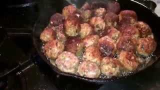 Sauteed Organic Pork Meatballs In Bacon Fat For Spaghetti