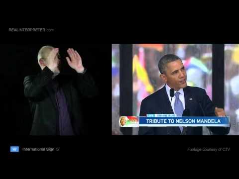 U.S. President Barack Obama in International Sign - Real Interpreter