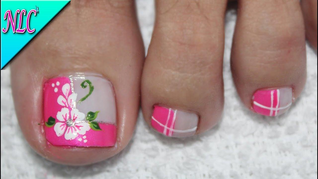 Dise o de u as para pies flor en principiantes muy f cil - Modelo de unas pintadas ...