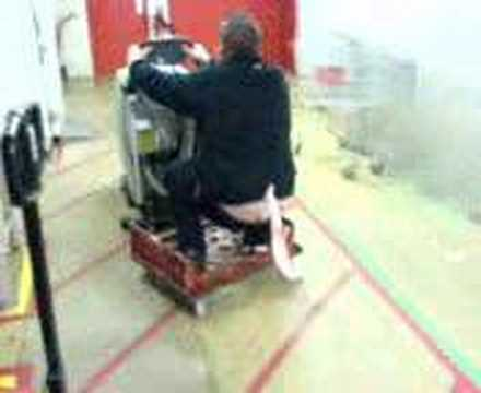 Cleaning machine arse crack with flag skating in Kwik Save
