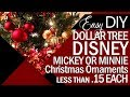 EASY Dollar Tree Disney Christmas Ornaments | Mickey or Minnie Mouse