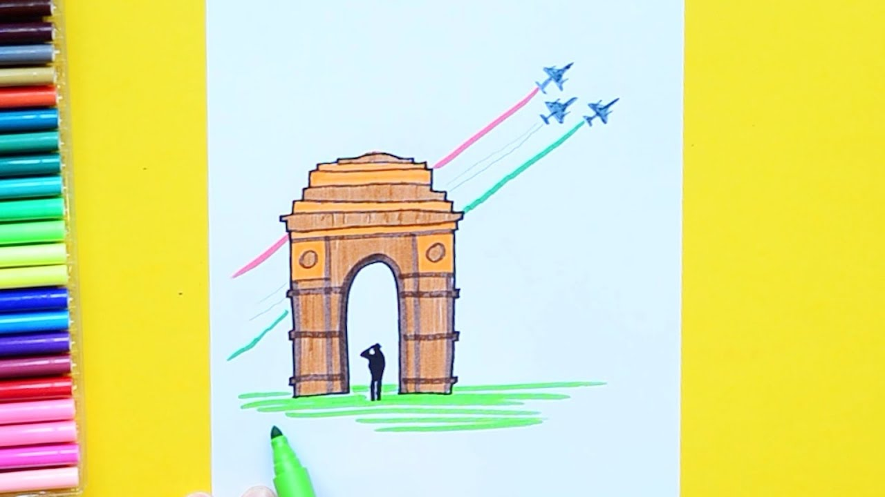 How To Draw Republic Day Flypast 2019 India Gate र पब ल क