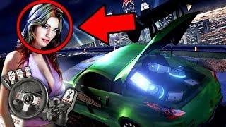 Minha namorada jogando need for speed underground 2 com o volante g27!