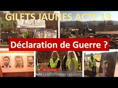 Gilets Jaunes Acte19 - La guerre contre les GJ ? Incendies volontaires des camps et militaires armés