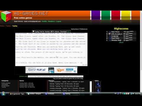 174 wpm on hi-games.net 50 minute test