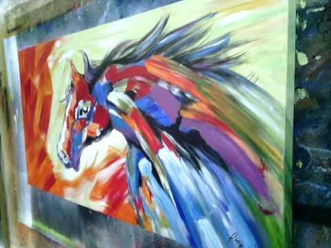 Cuadro caballo abstracto de colores youtube for Imagenes de cuadros abstractos faciles