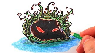 How To Draw Tangle Kelp from Plants vs. Zombies – Mr. Cute Cartoon Drawing Club
