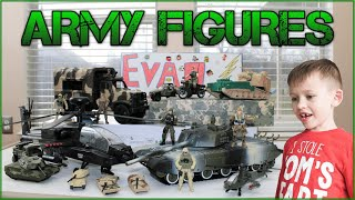 Surprise Box Army Action Figures Apache Helicopter Transport Plane Tanks Trucks