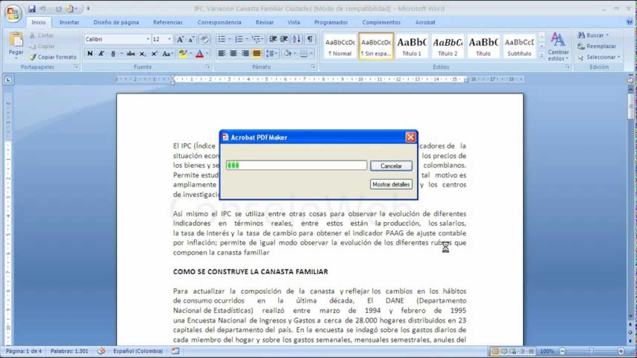 Word 2007 2010 Como convertir un documento de word a PDF