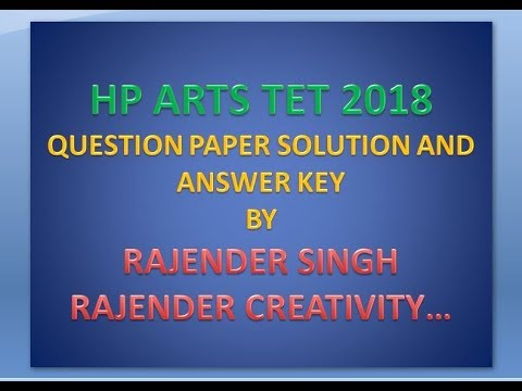HP TGT ARTS TET 2018 Solved Question Paper and answer key