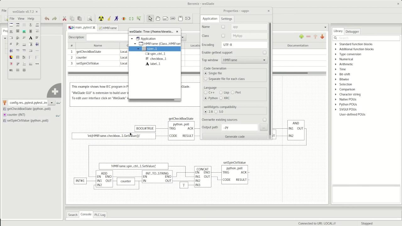 Beremiz, wxGlade example  HMI interface for PLC