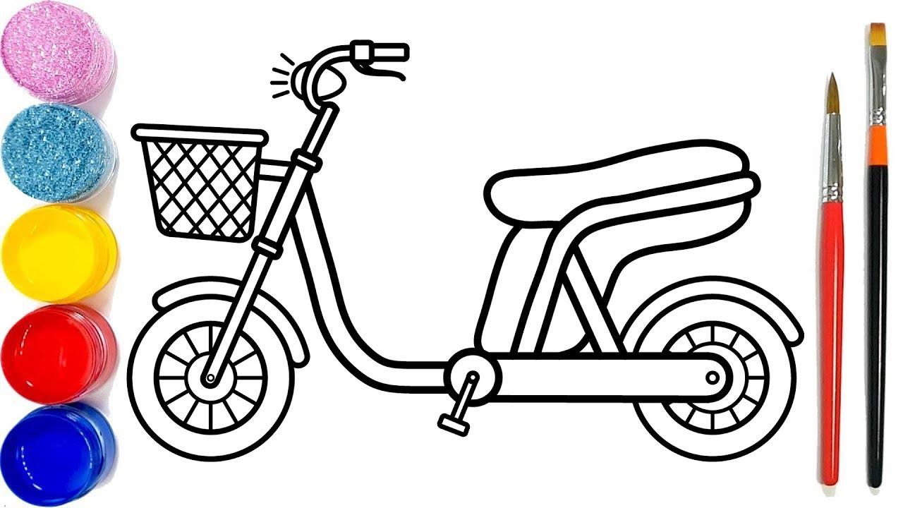 Vẽ xe đạp điện đơn giản và tô màu cho bé  Dạy bé vẽ  Dạy bé tô màu   Sepeda listrik Halaman Mewarnai