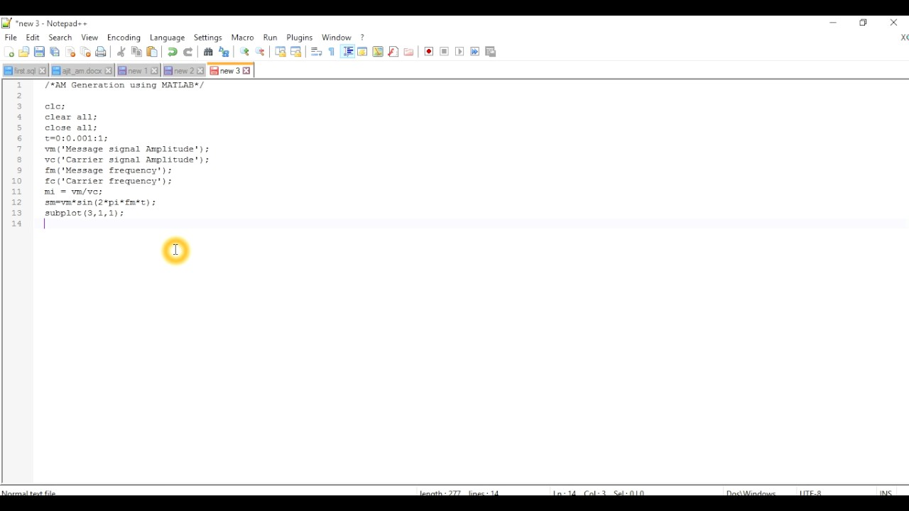 Am Generation using MATLAB Part 1