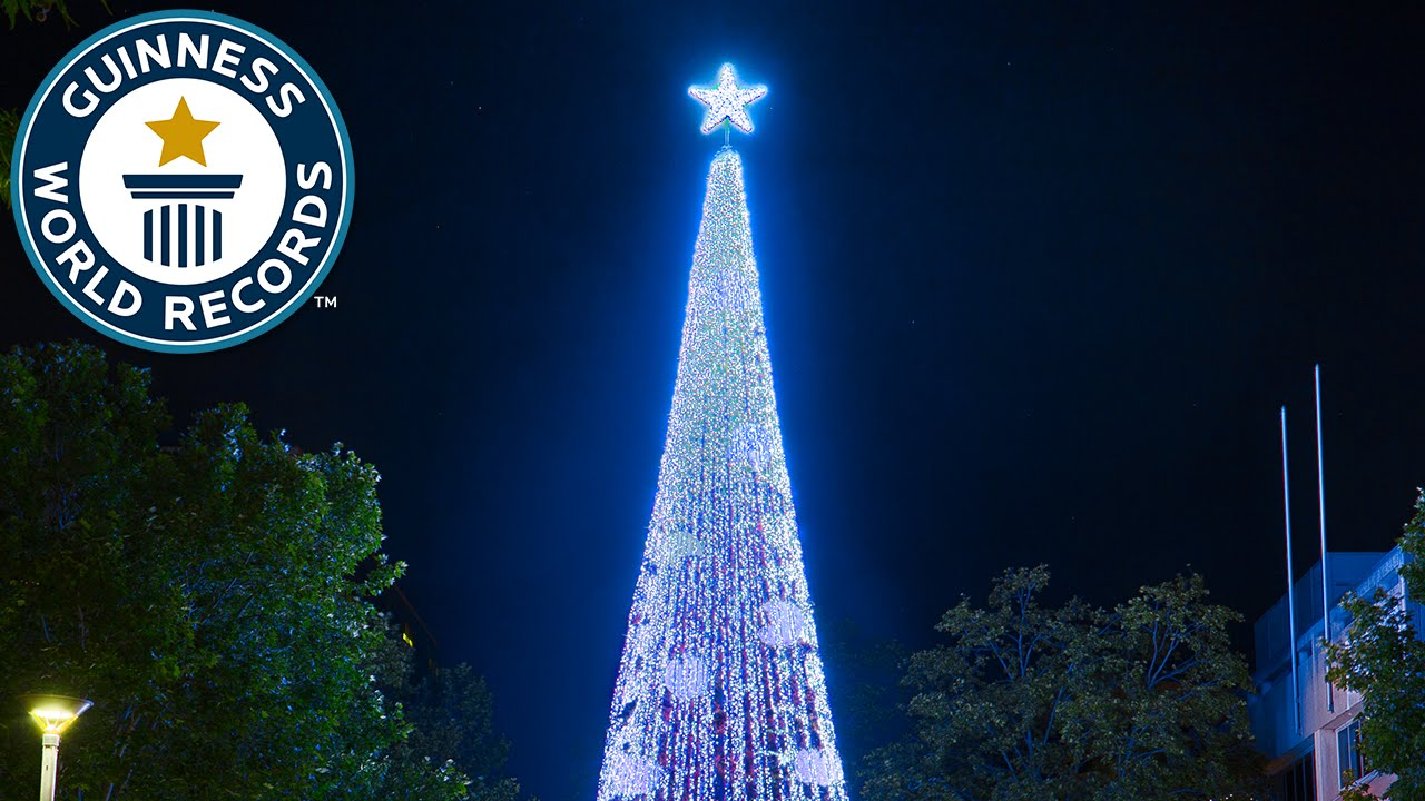 largest display of christmas lights on an artificial tree guinness world records youtube