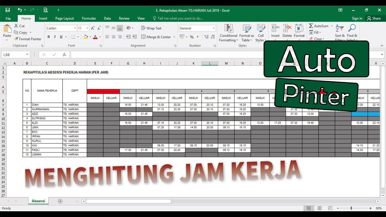 Cara Menghitung Jam Kerja di Ms. Excel - YouTube