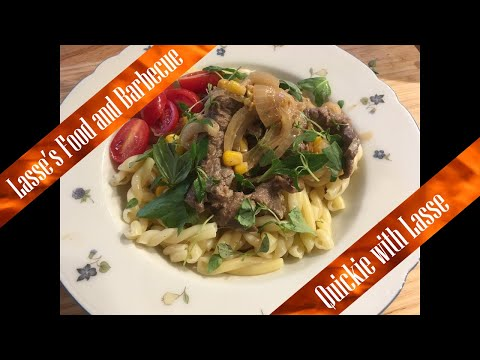 Pasta with steak strip sauce - easy - 20 minute meal -