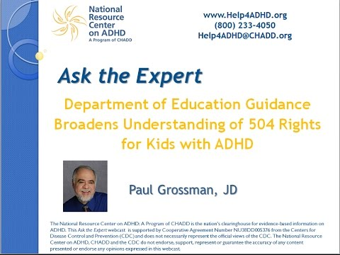 Department of Education Guidance Broadens Understanding of 504 Rights for Kids with ADHD  Part I