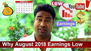 Why YouTube Earnings of August 2018 are too Low /dropped or decreased