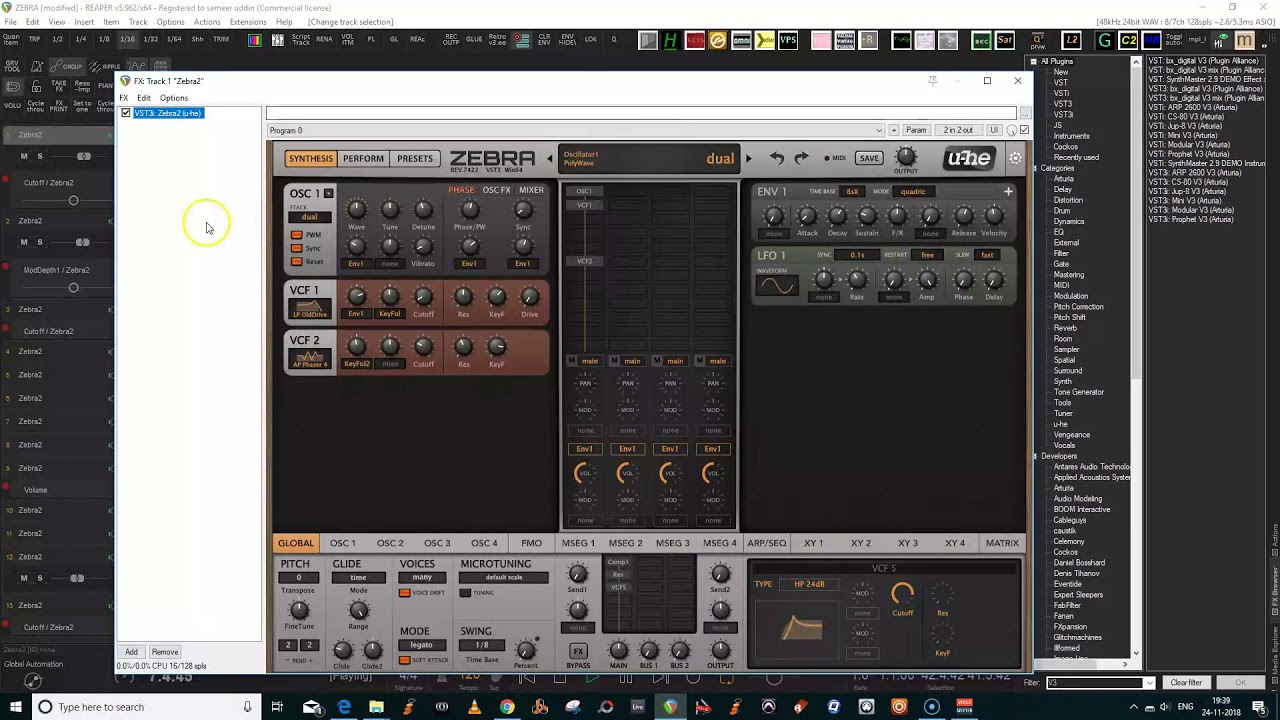 Zebra vst patches and jamming - YouTube