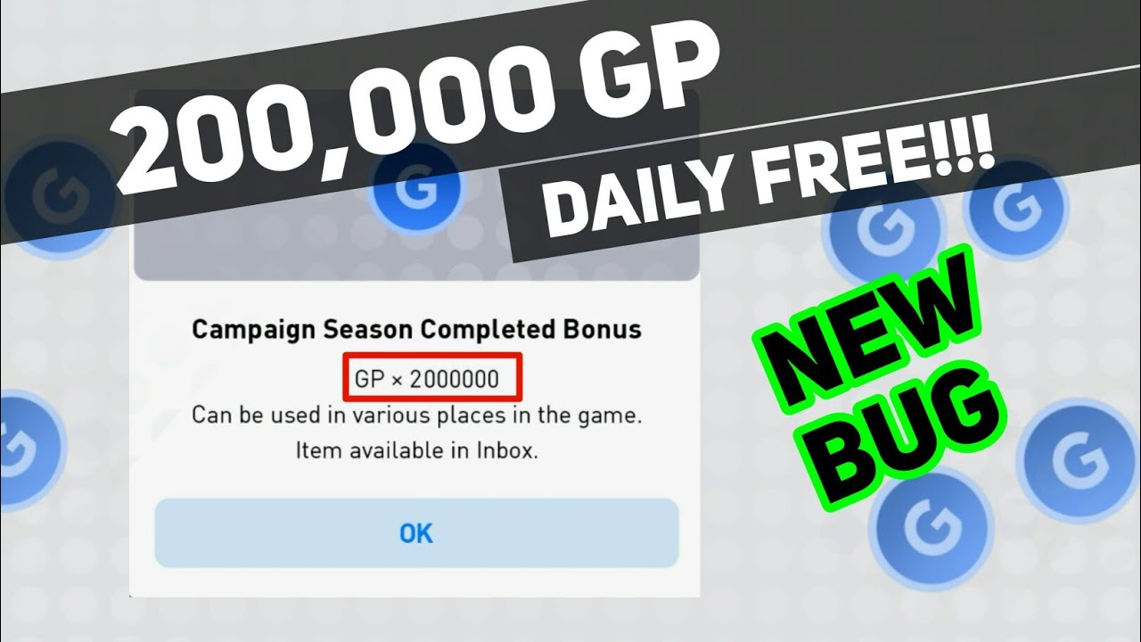 GET 200000 GP Daily Free | GP Bug in PES 2019 Mobile