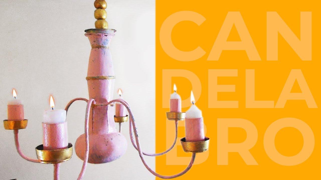 Candelabro hecho con reciclaje manualidades diy youtube - Como hacer candelabros ...