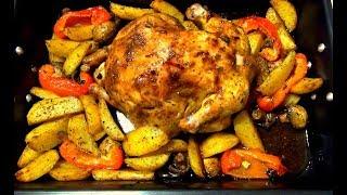 Блюдо из целой курицы.Сочная курица с овощами в духовке.  Бюджетное блюдо для праздника.