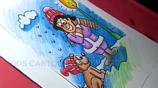 How to Draw Winter Season Drawing Step by Step for Childrens