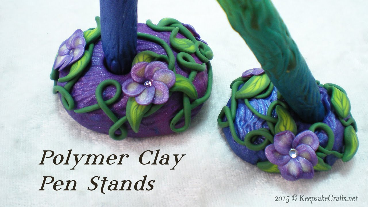 Vines  U0026 Flowers Polymer Clay Pen Stand Tutorial