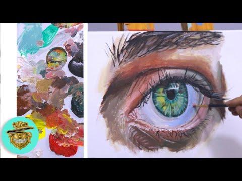 COMO Pintar OJOS REALISTAS - Tutorial De Pintura Con ACRÍLICOS