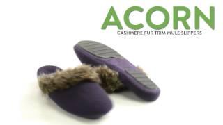 Acorn Cashmere Fur Trim Mule Slippers (For Women)