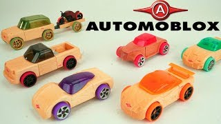 New Transformer Cars Automoblox Mix and Match Real Wood Building Car STEM Toys