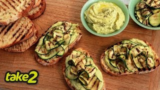Easy Bruschetta Recipe With Avocado Hummus & Zucchini
